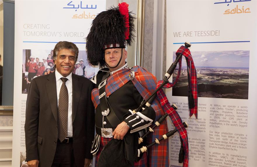 SABIC'S executive vice-president Yousef Al Zamel with piper Jim Hall before dinner at Rockliffe Hall