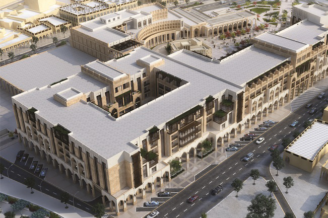 Aerial rendering of the Al Najada complex