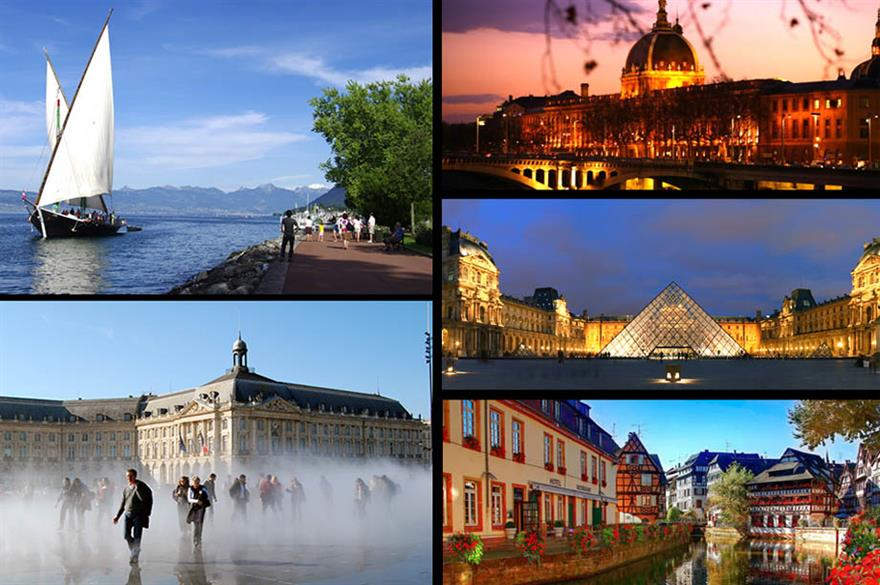 Clockwise from top left: Evian, Bordeaux, Lyon, Paris, Strasbourg