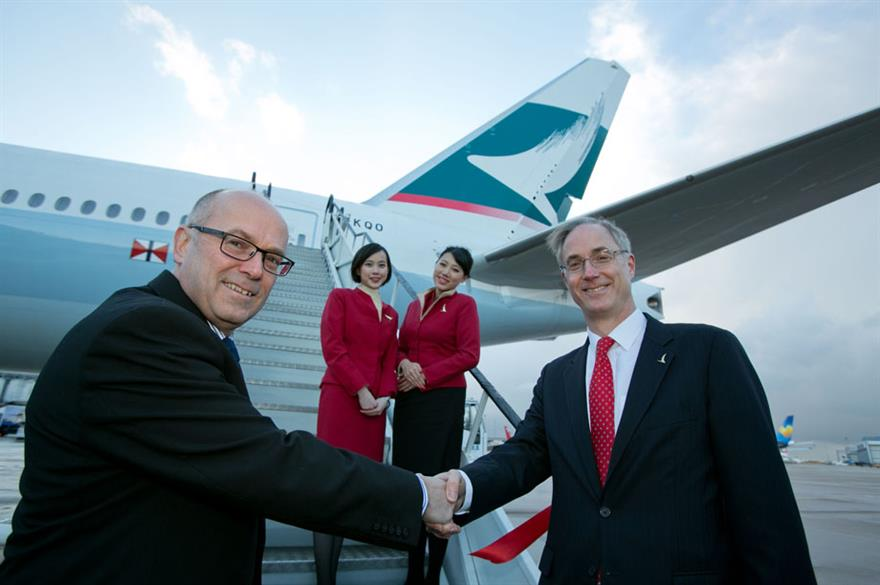 Angus Barclay, Cathay Pacific (right) and Charlie Cornish, Manchester Airports Group (left)