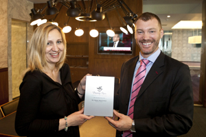 Rebecca Thorpe (left), senior partnership manager of lounges, Priority Pass and Michael Robey (right), head of experience, No.1 Traveller