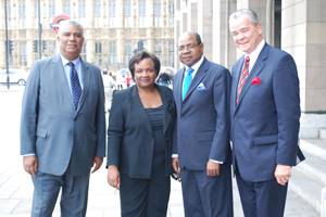 (Left to right): John Lynch, Director of Tourism and Chairman of Jamaica Tourist Board (JTB); MP Diane Abbott; Hon Edmund Bartlett, Minister of Tourism, Jamaica Tourist Board; Alec Sanguinette, Director General, Caribbean Hotel Association (CHA)