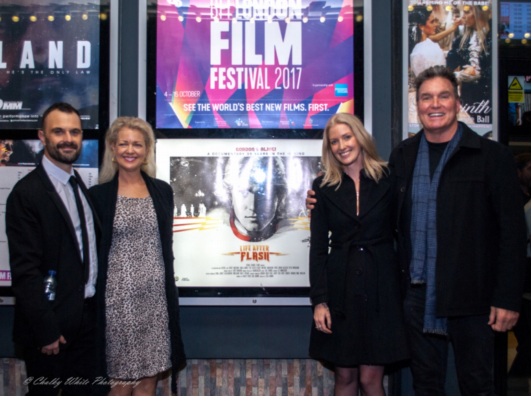 From left to right: Ashley Pugh (producer of 'Life After Flash'), Melody Anderson (Flash Gordon star), Lisa Downs (director of 'Life After Flash') and Sam J Jones (Flash Gordon)
