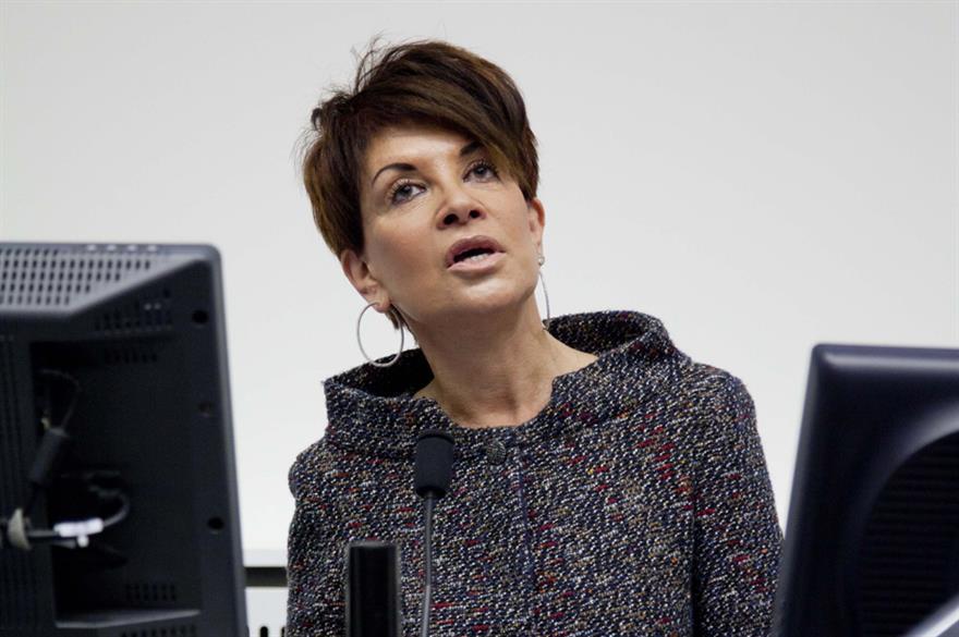 Liz Taylor delivers her speech at Manchester Metropolitan University Business School