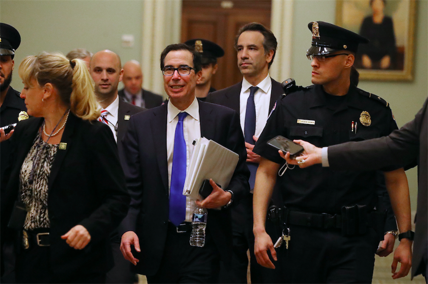 Treasury Secretary Steven T. Mnuchin held negotiations on Tuesday
