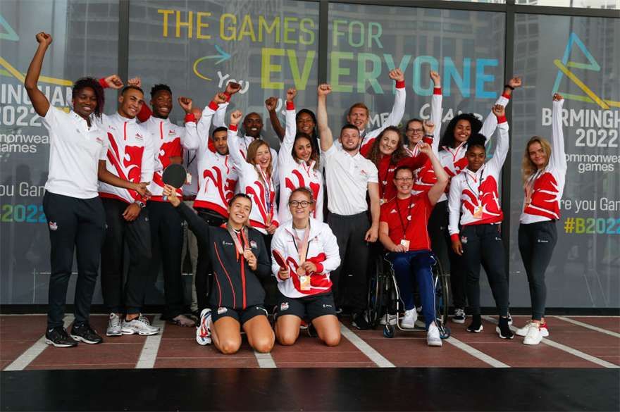 Team England athletes at the launch of the Birmingham 2022 three-year countdown in July 2019