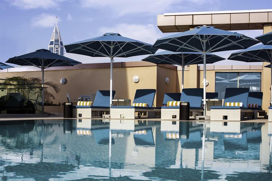 Rooftop pool at the Pullman Dubai Jumeirah Lakes Towers hotel