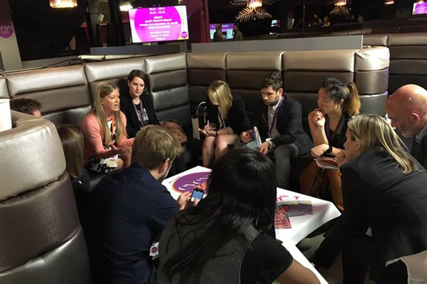 Barclay's Abigail Wood hosts a huddle at Event360