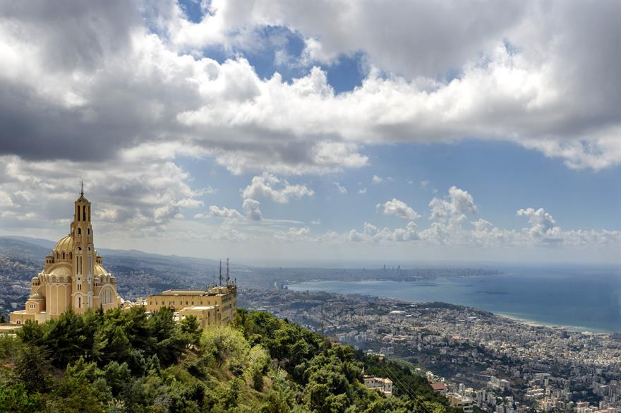 View of Harissa monastery with Beirut in the background