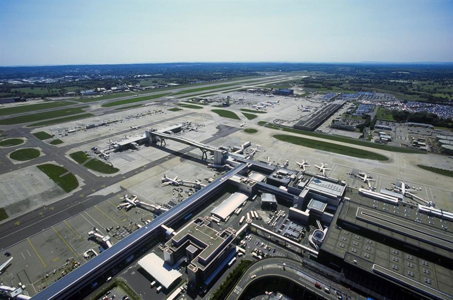 Aerial image showing Gatwick's North Terminal and Airfield