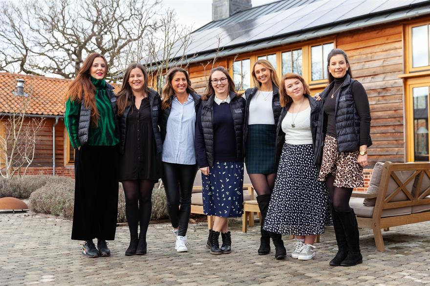 Amelia Hopgood (centre) with the rest of the Sleek Events team at Retreat East