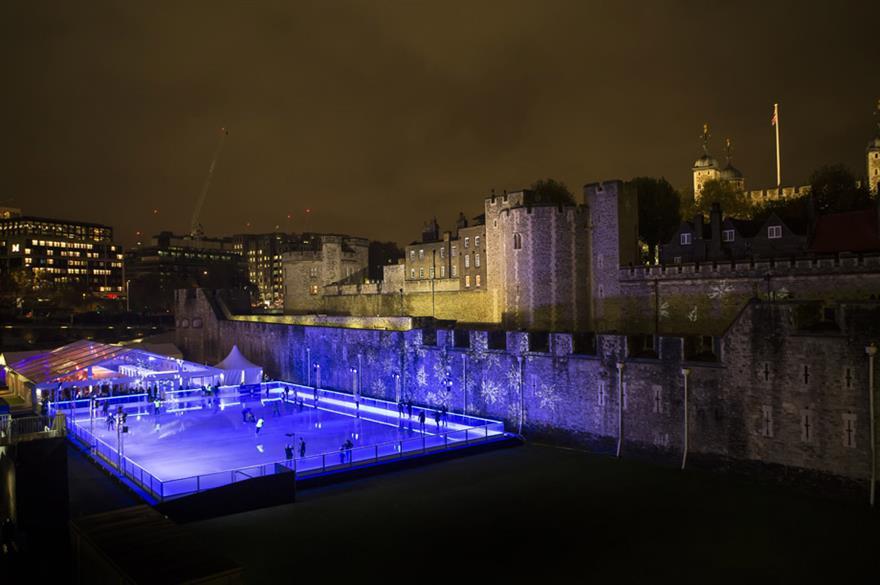 Ice skating at the Tower of London