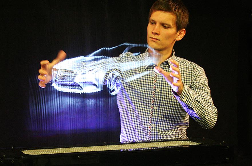 Leia Display XL uses laser projectors to beam images onto a cloud of water vapour