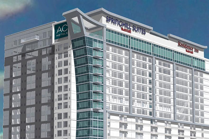 Marriott hotels to open three brands under one roof