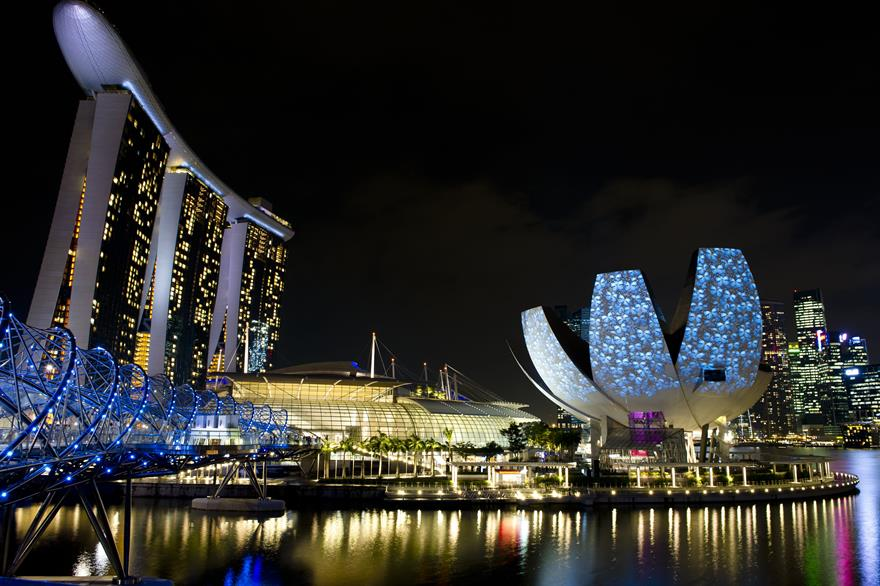 Marina Bay Sands and the ArtScience Museum (right)