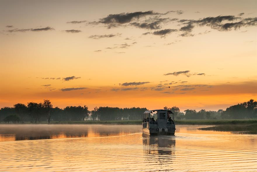 Boat on Yellow Water billabong at dawn, Northern Territories, Australia