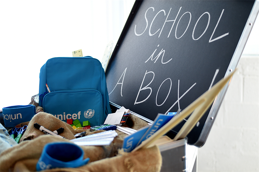 UNICEF's school-in-a-box kit