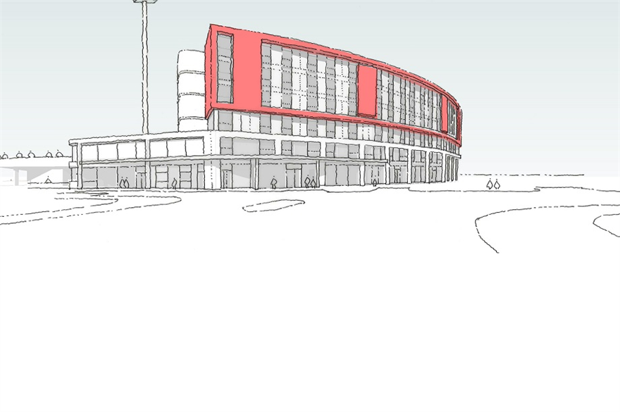 Proposed Hilton hotel at Emirates Old Trafford (Brian Staham Way sketch)