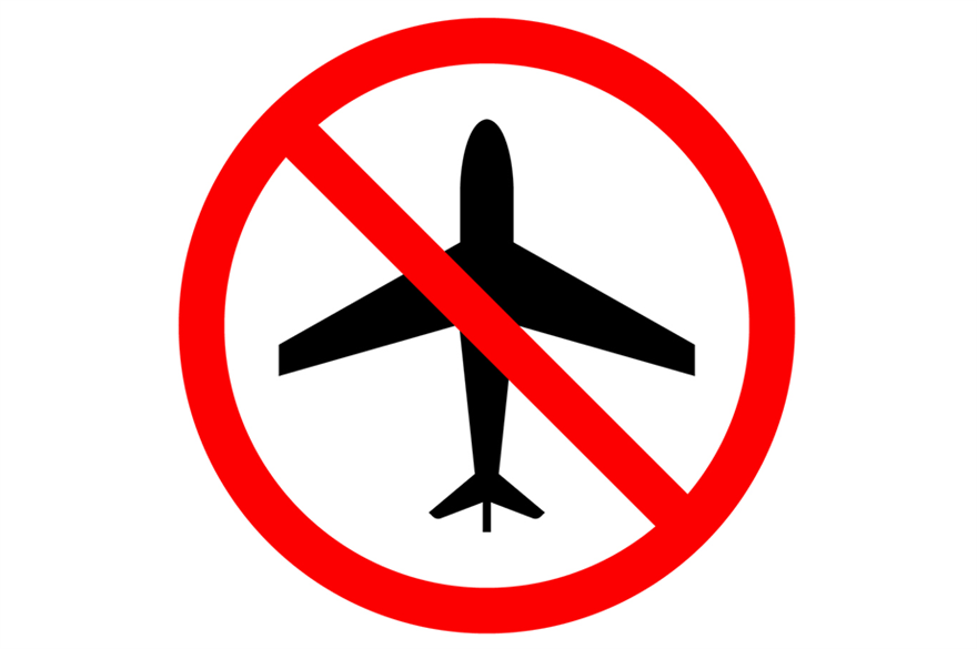 Aeropane in a banned sign