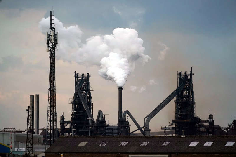 Steam is emitted from a chimney at British Steel's Scunthorpe works, which entered liquidation this year. Photograph: Christopher Furlong/Getty Images