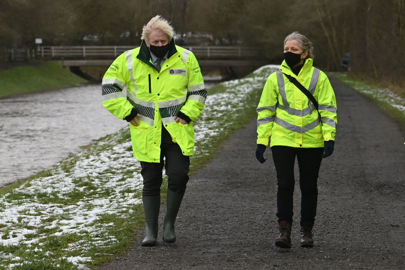 Prime minister Boris Johnson with EA chair Emma Howard Boyd in January. Photograph: Paul Ellis/AFP/Getty Images)