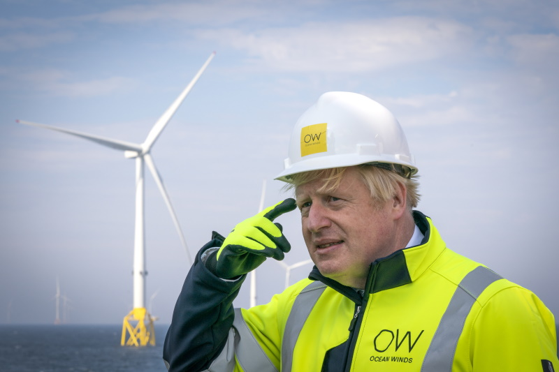 Boris Johnson has morphed from a critic of wind power to its most powerful advocate. Photograph: Jane Barlow / Getty Images