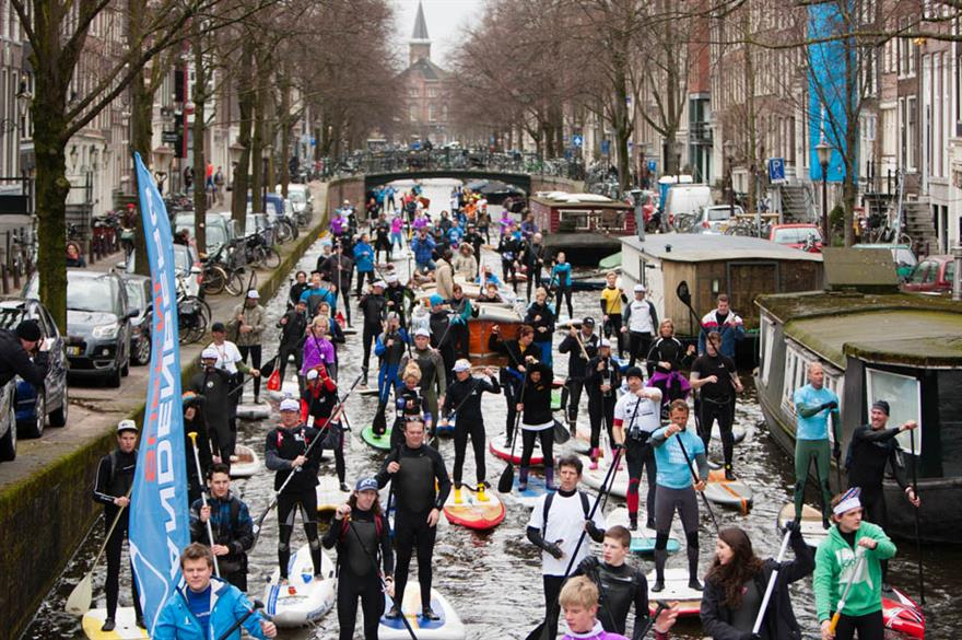 Stand-up paddle (SUP), Amsterdam, The Netherlands