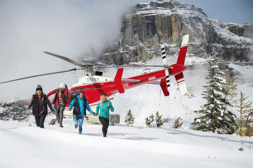 Heli-snow shoeing in Banff