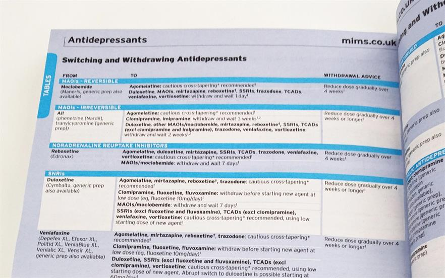 MIMS drug reference tables are available in the quarterly print edition and updated constantly online.