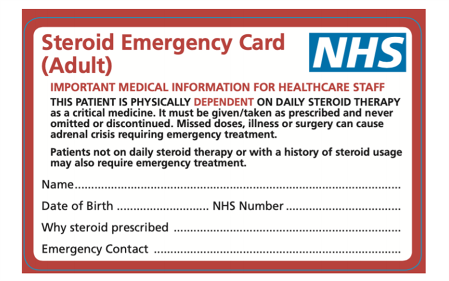 The steroid emergency card should be given to all patients with primary adrenal insufficiency and those who are steroid dependent.