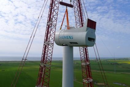 Siemens SWT-6.0 120 being installed at a test site in Denmark