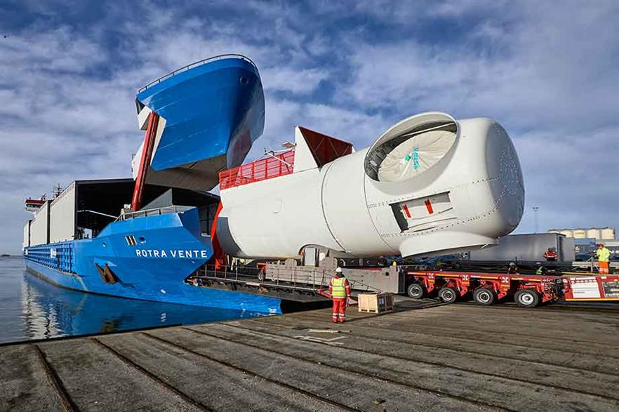 Accommodating… The ro-ro vessel's bow can be hydraulically raised to wheel in entire nacelles for 7MW turbines on self-propelled modular transporters