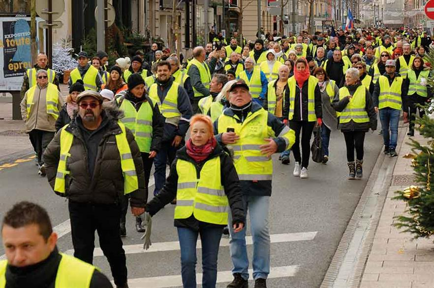 Gilets jaunes… France has seen a wave of protests against Macron's policies in recent weeks (pic: Thomas Bresson)