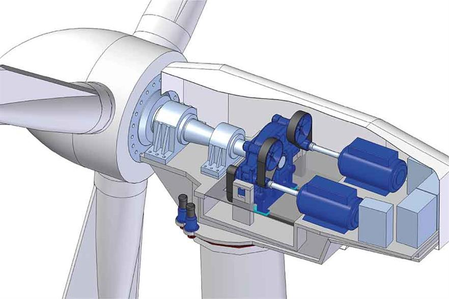 Modular… 8MW hybrid with four-point gearbox support and two generators