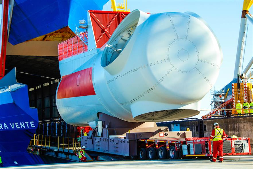 Siemens Gamesa's purpose-built Rotra Vente vessel transported nacelles from its factory in Cuxhaven