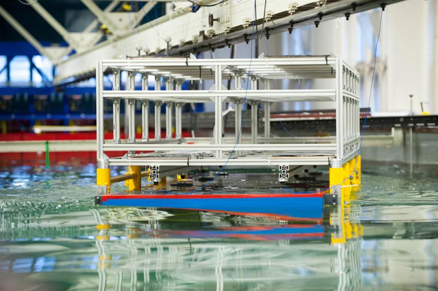 Scale model of the topside on the barge, part of the wave tank modelling simulation at Newcastle University's School of Marine Engineering (Picture credit: Gareth Lowe)