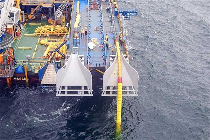 Cables between the Danish Kriegers Flak and Baltic 2 projects were installed in July (pic: 50Hertz)