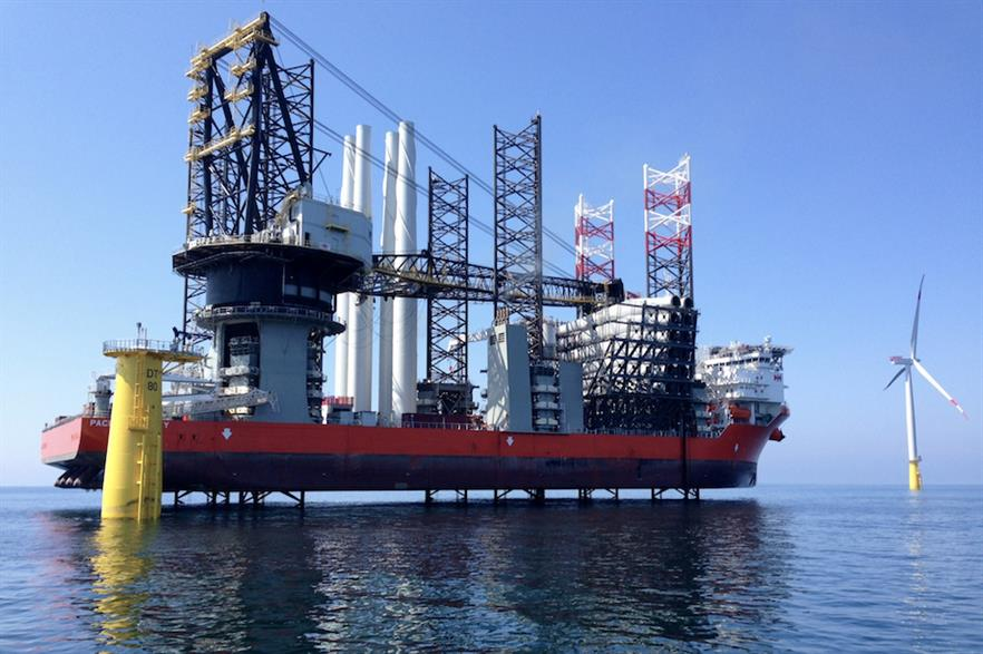 Swire Blue Ocean's Pacific Osprey (above) is currently being loaded with foundations for the projects' total 87 turbines