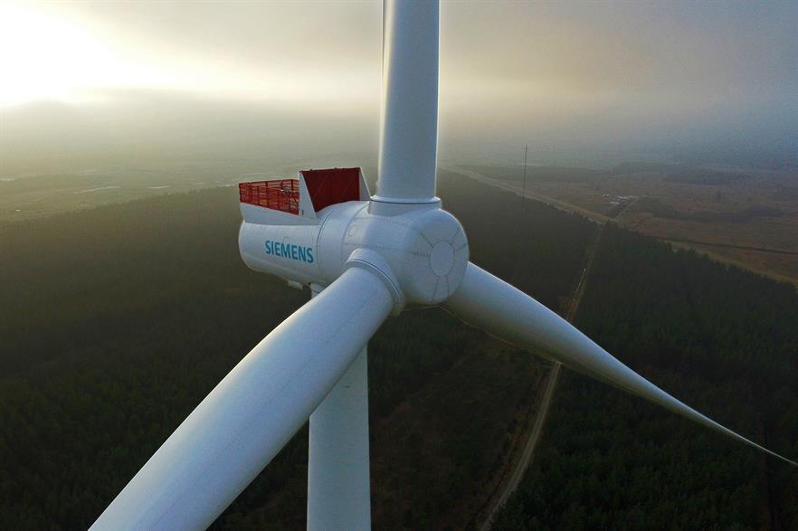 Siemens 8MW turbine at the testing centre in Østerild, Denmark