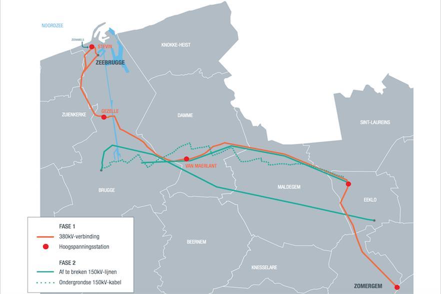 The Stevin Line spans 47 kilometres between Zeebrugge and Zomergem (pic credit: Elia)