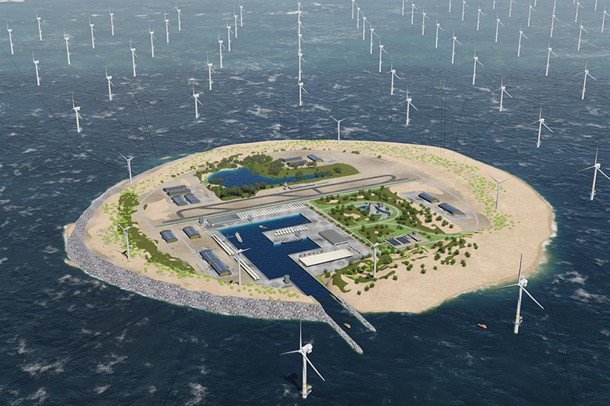 An artist's impression of what a North Sea Power Hub would look like (pic credit: Tennet)