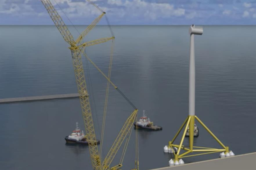 The TetraSpar concept consists of a tubular steel main structure with a suspended keel (pic: DNV GL)
