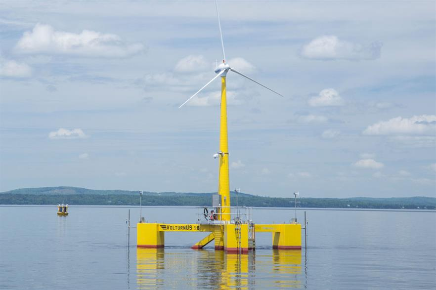 A 1:8 scale model of UMaine's VolturnUS platform could be removed from the water
