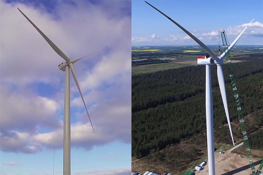 40 MHI Vestas V164 8MW (left) and 47 Siemens SWT-7.0-154 (right) turbines will power Dong's Walney Extension