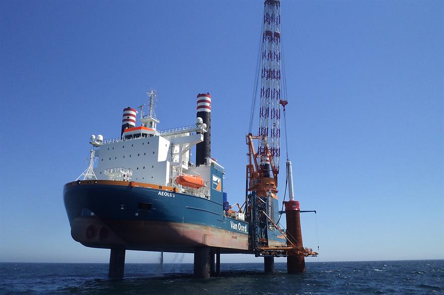 Van Oord's Aeolus vessel installing monopiles at a Dutch offshore project