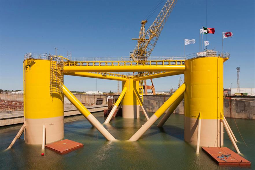 Onshore assembly… Floating turbines, like this semi-submerged model, can be assembled in harbour or near shore and towed into position (pic: Principle Power)