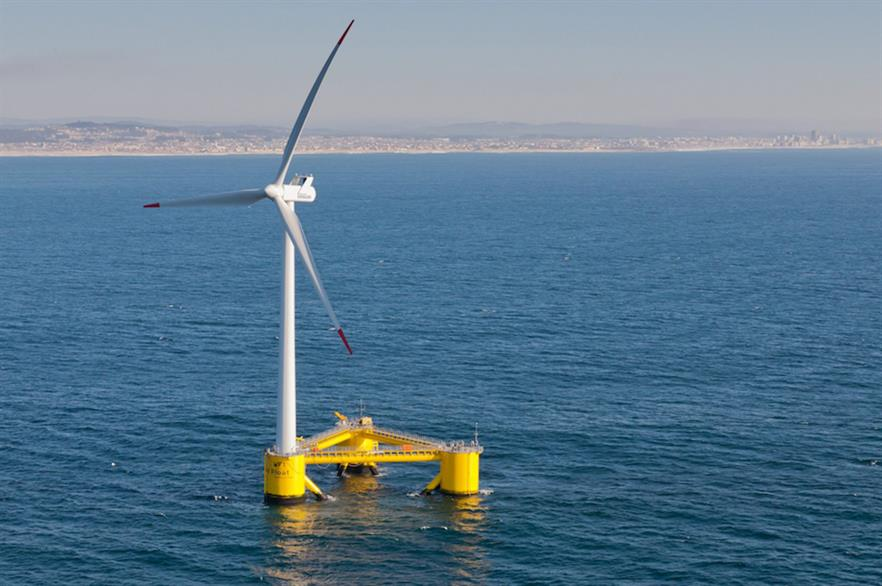 Kincardine's turbines are mounted on WindFloat semi-submersible platforms designed by Principle Power, pictured above