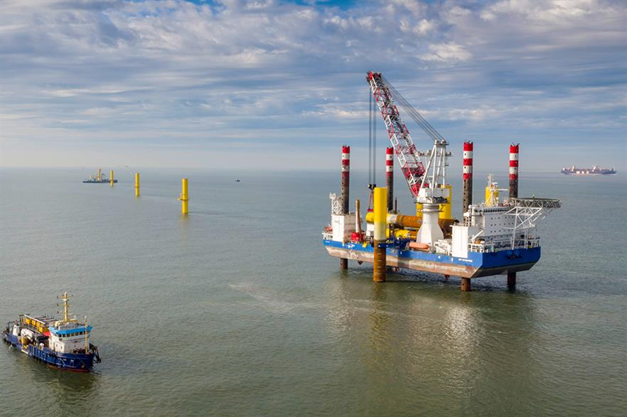 Wpd's Nordergrunde offshore wind project under construction in the North Sea in 2016