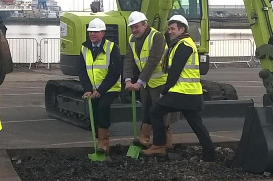 Energy minister Ed Davey (centre) at the ceremony