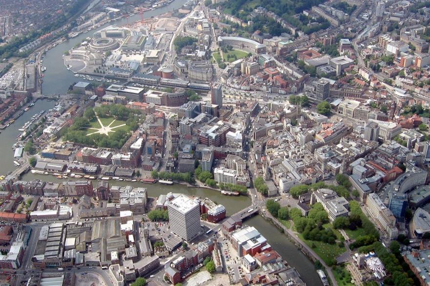 Central Bristol. Credit: CC-BY-SA 3.0 Arpingstone